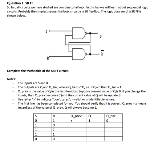 small resolution of question 1 sr ff so far all circuits we have studied are combinatorial logic