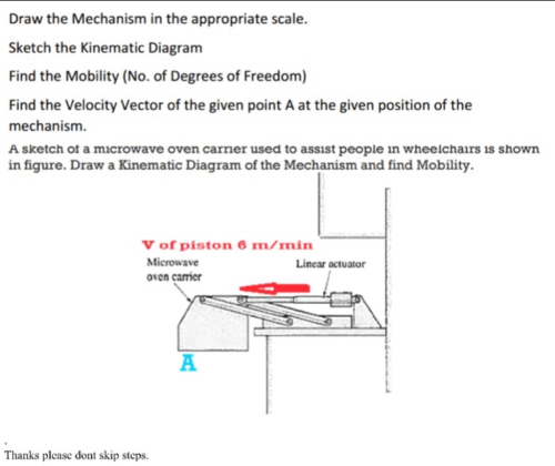 small resolution of draw the mechanism in the appropriate scale sket please also provide velocity diagram