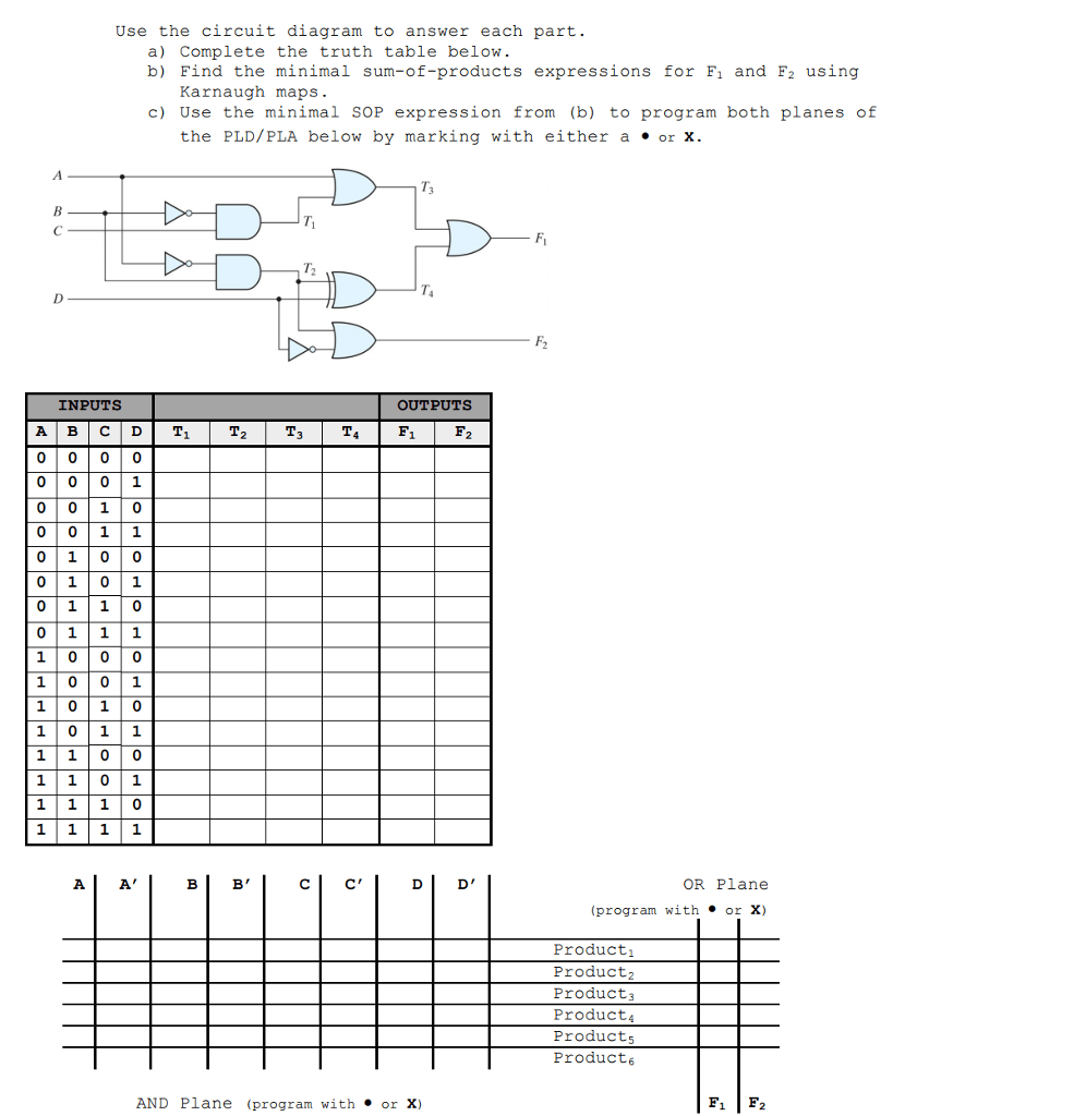 medium resolution of question use the circuit diagram to answer each part a complete the truth table below b find the minim