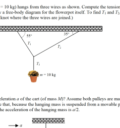 1 a flowerpot m 10 kg hangs from three wires a [ 1831 x 979 Pixel ]