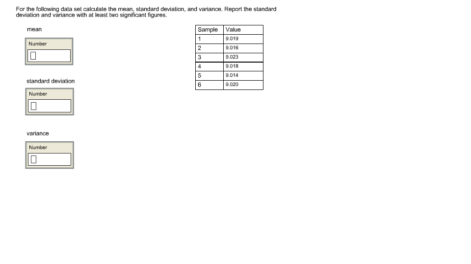 Solved: For The Following Data Set Calculate The Mean, Sta