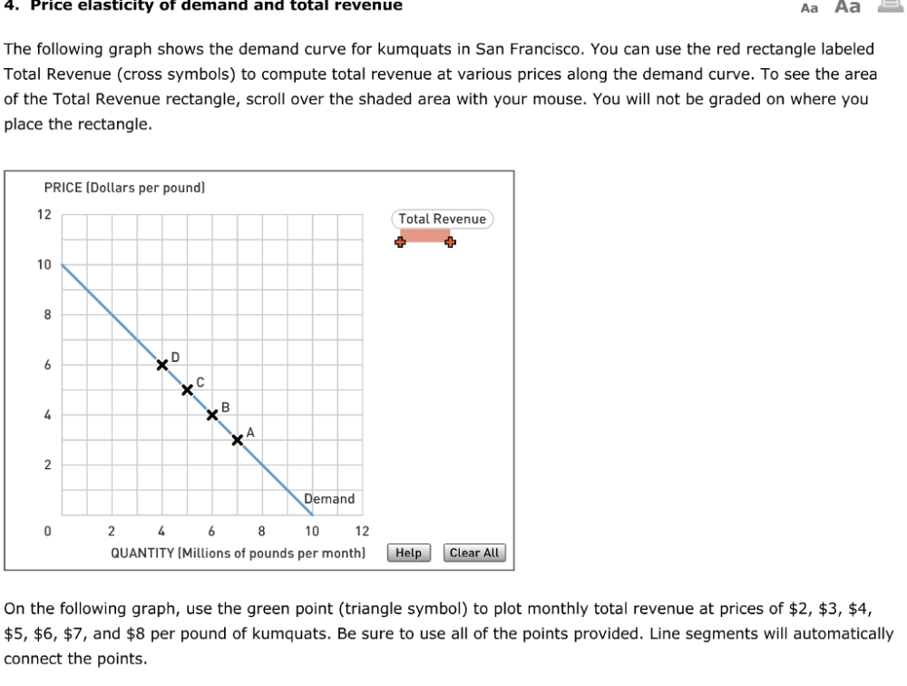 medium resolution of price elasticity of demand and total revenue aa aa the following graph shows the