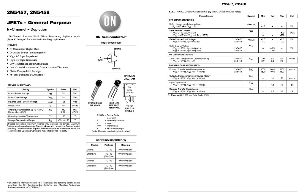 Solved: 2N5457, 2N5458 JFETs General Purpose N-Channel Dep