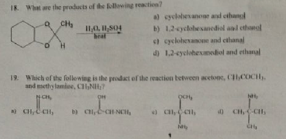 Solved: 18 What Are The Products Of The Following Reaction