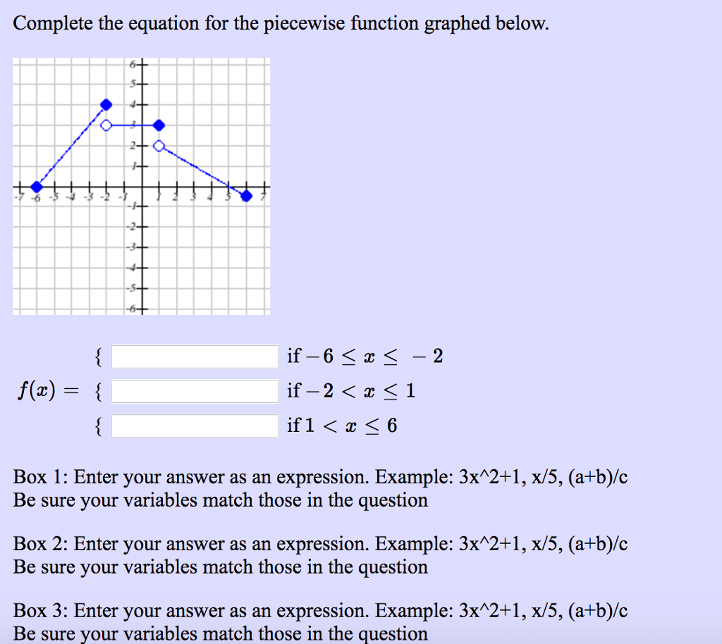 Piecewise Function Equation