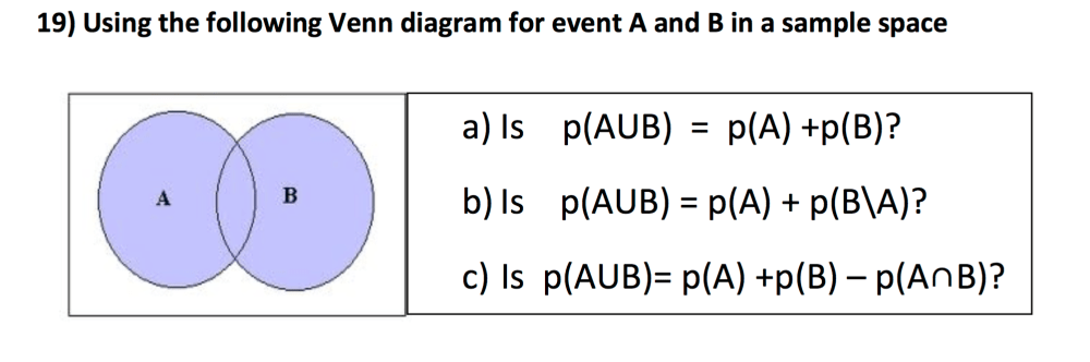 medium resolution of using the following venn diagram for event a and b