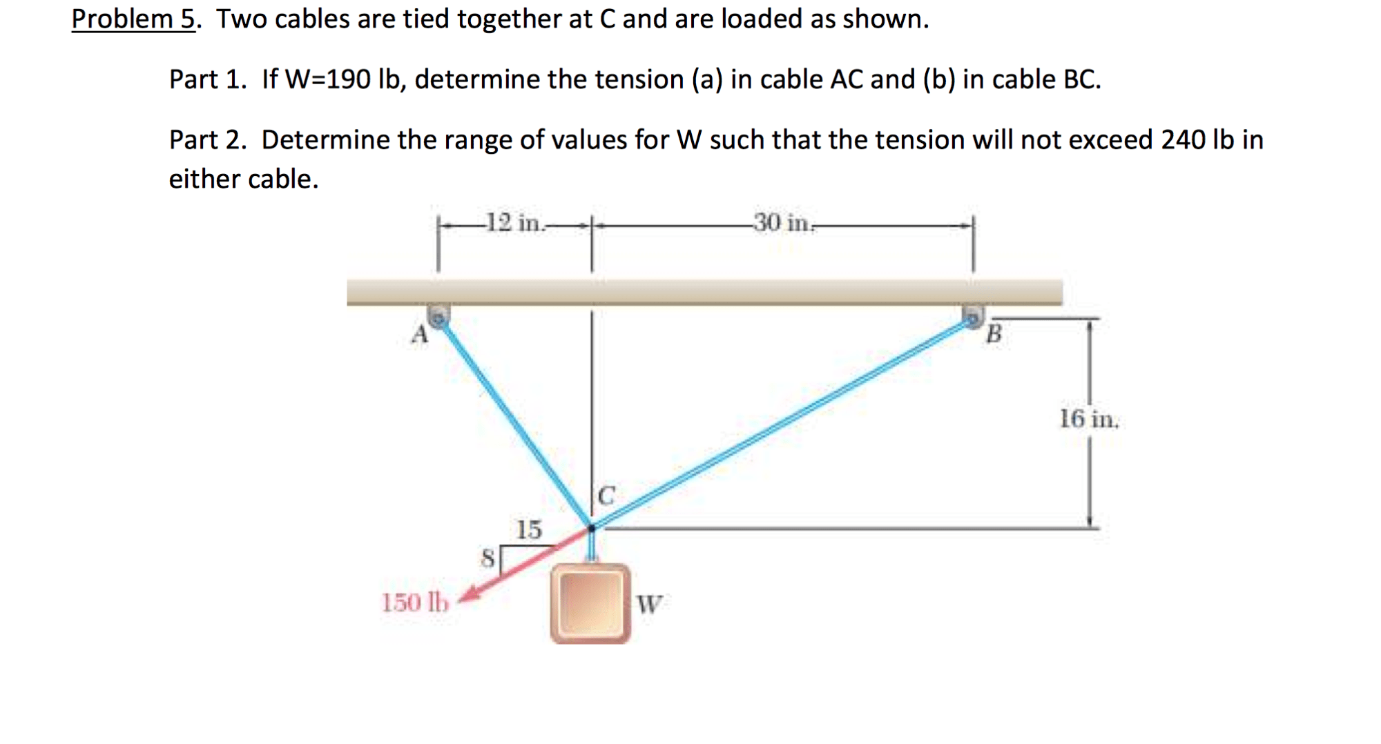 hight resolution of problem 5 two cables are tied together at c and are loaded as shown draw a free body diagram