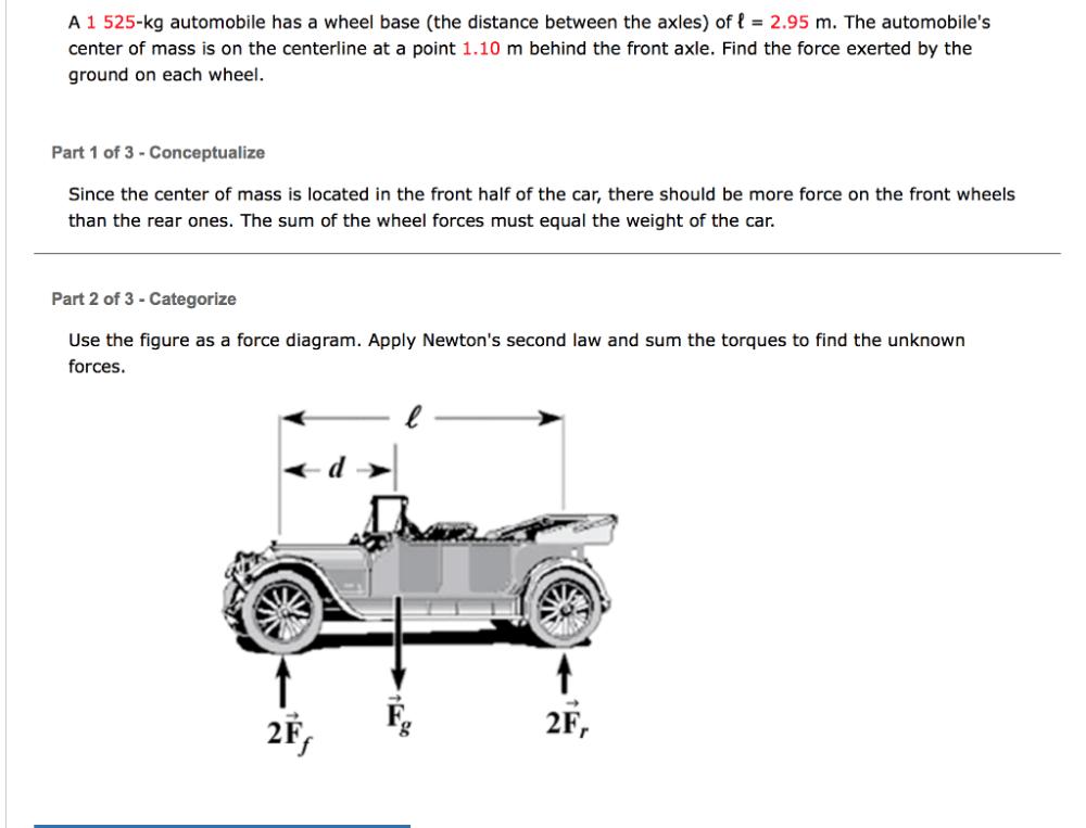 medium resolution of a 1 525 kg automobile has a wheel base the distan