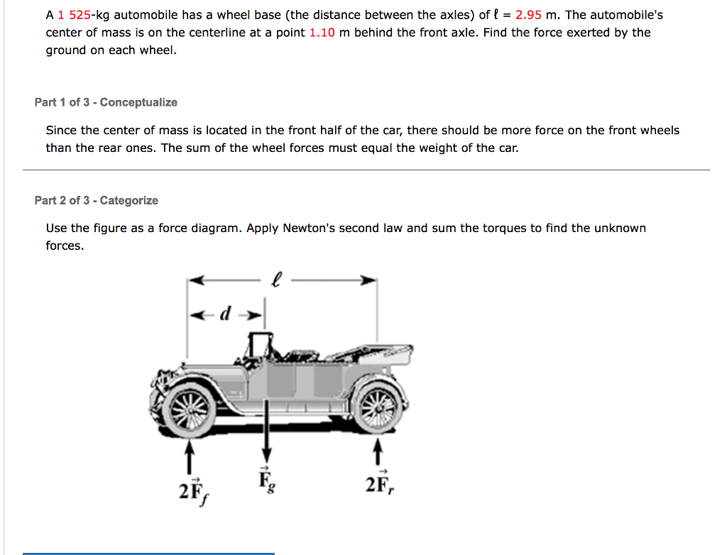 hight resolution of a 1 525 kg automobile has a wheel base the distan
