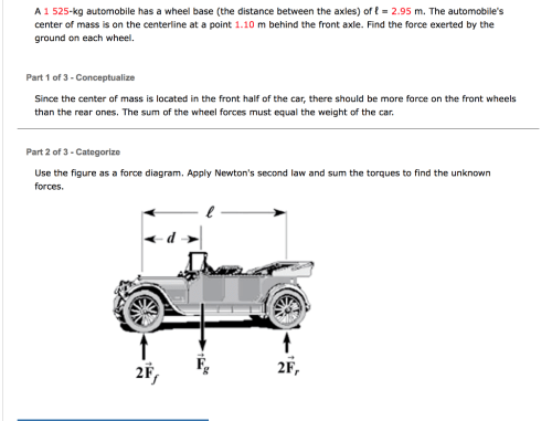 small resolution of a 1 525 kg automobile has a wheel base the distan