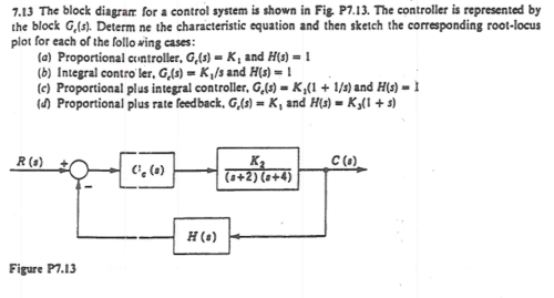 small resolution of question the block diagram for a control system is shown in fig p7 13 the controller is represented by t
