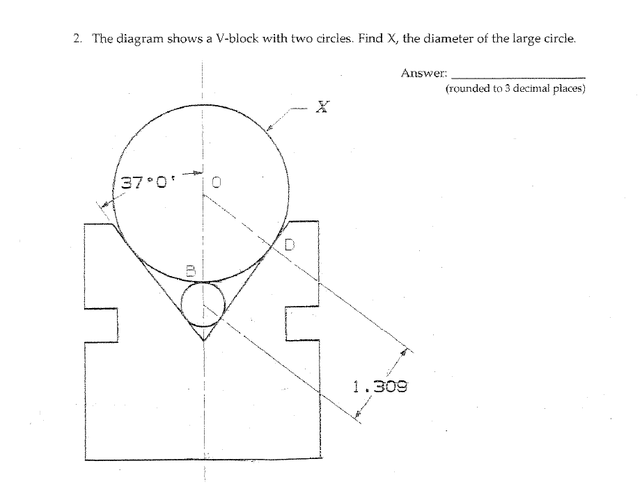 Solved: 2. The Diagram Shows A V-block With Two Circles. F