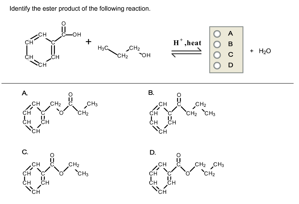 Solved: Identify The Ester Product Of The Following Reacti