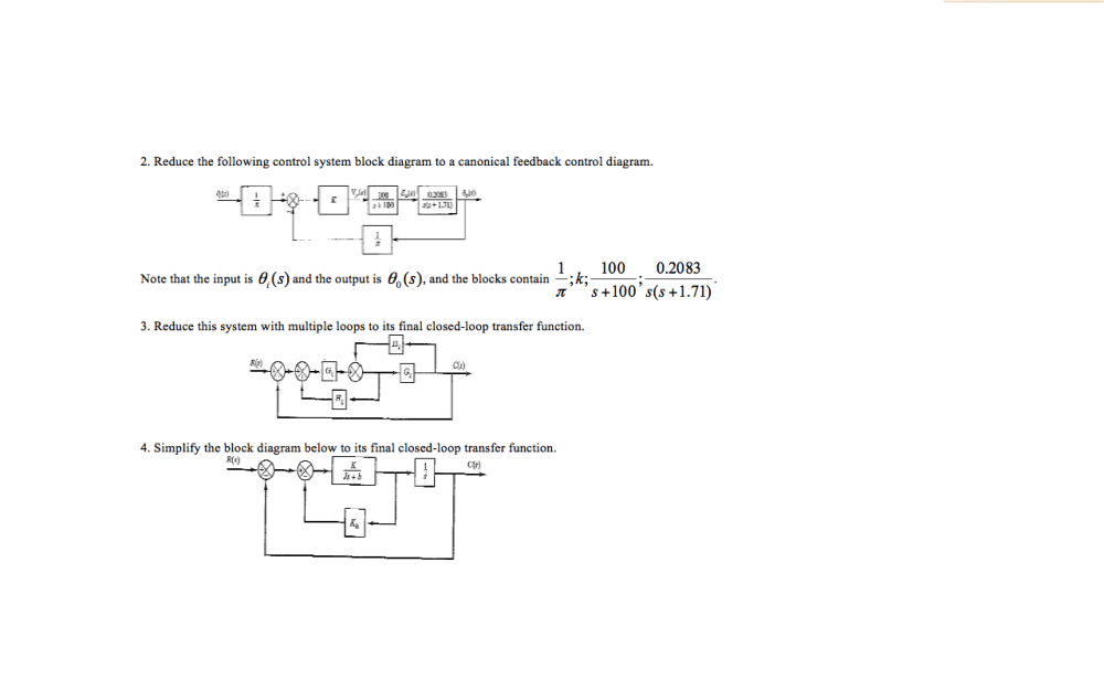 medium resolution of reduce the following control system block diagram to a canonical feedback control diagram note that the input is 0 s and the output is 0 1 0 s