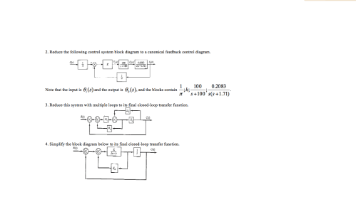 small resolution of reduce the following control system block diagram to a canonical feedback control diagram note that the input is 0 s and the output is 0 1 0 s