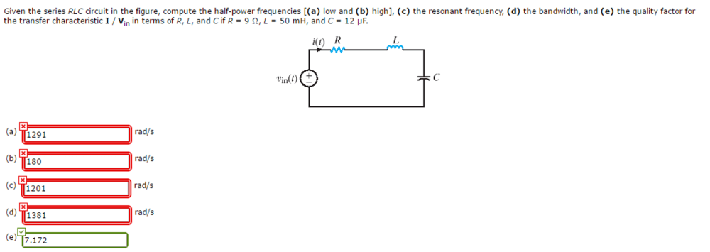 medium resolution of given the series rlc circuit in the figure comput