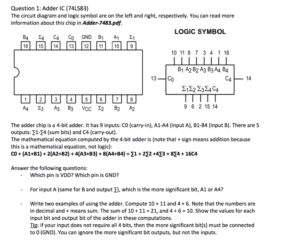 medium resolution of question 1 adder ic 74ls83 the circuit diagram and logic symbol are on