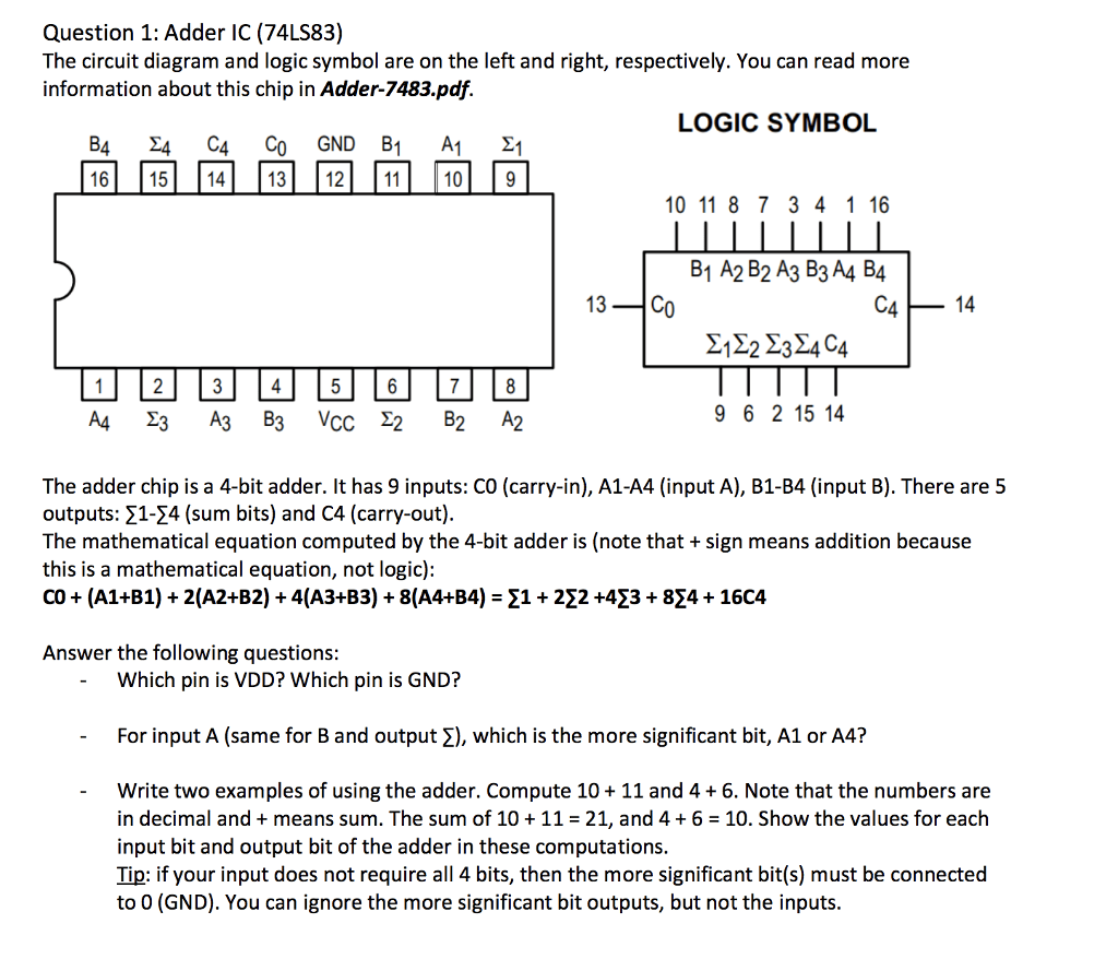 hight resolution of question 1 adder ic 74ls83 the circuit diagram and logic symbol are on