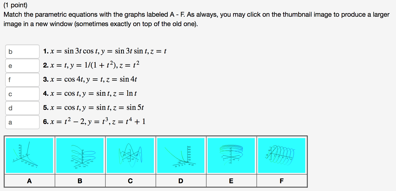 Solved 1 Point Match The Parametric Equations With The