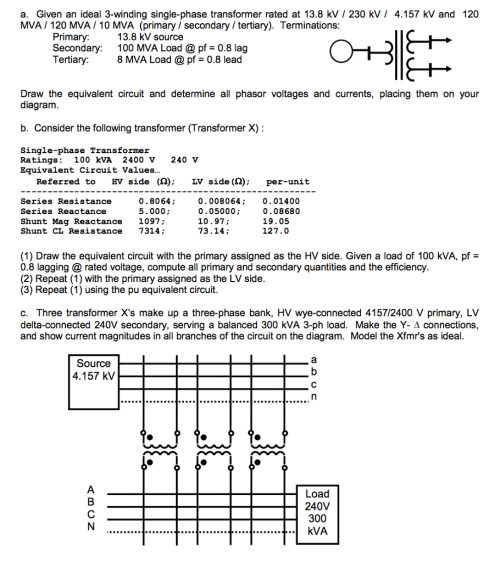 small resolution of given an ideal 3 winding single phase transformer rated at 13 8 kv