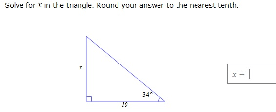 Solved: Solve For X In The Triangle. Round Your Answer To