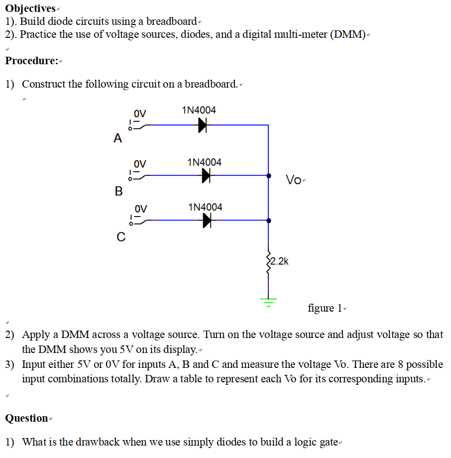medium resolution of build diode circuits using a breadboard 2 practice the