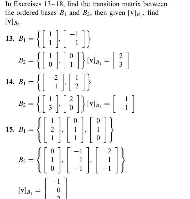 Solved: In Exercises 13-18, Find The Transition Matrix Bet
