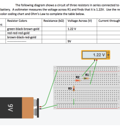 the following diagram shows a circuit of three resistors in series connected to a 9v battery [ 1024 x 843 Pixel ]