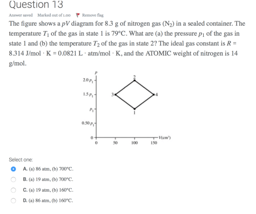 small resolution of question 13 answer saved marked out of 1 00 remove flag the figure shows a pv diagram