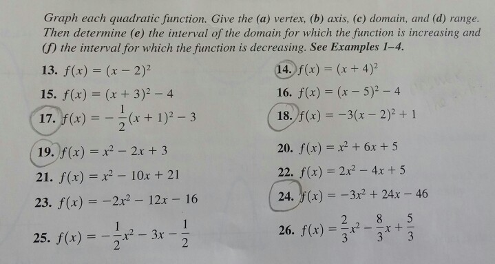 Solved: Graph Each Quadratic Function. Give The Vertex, Ax