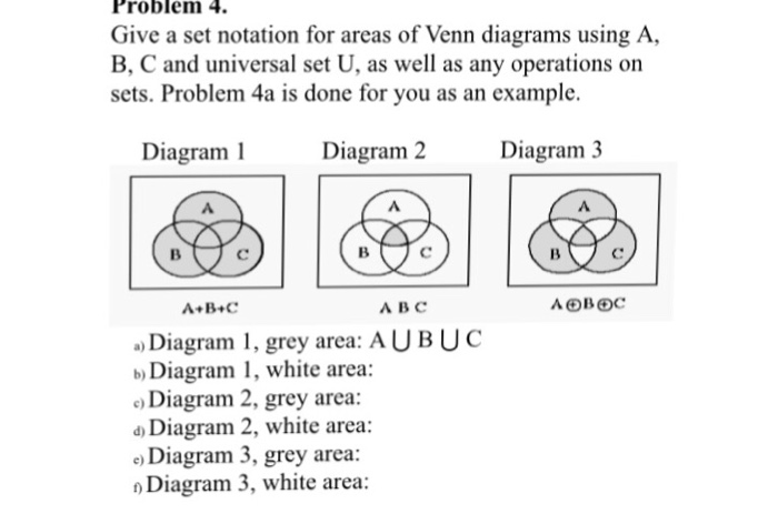 venn diagram problems with answers 1984 goldwing wiring solved give a set notation for areas of diagrams usi
