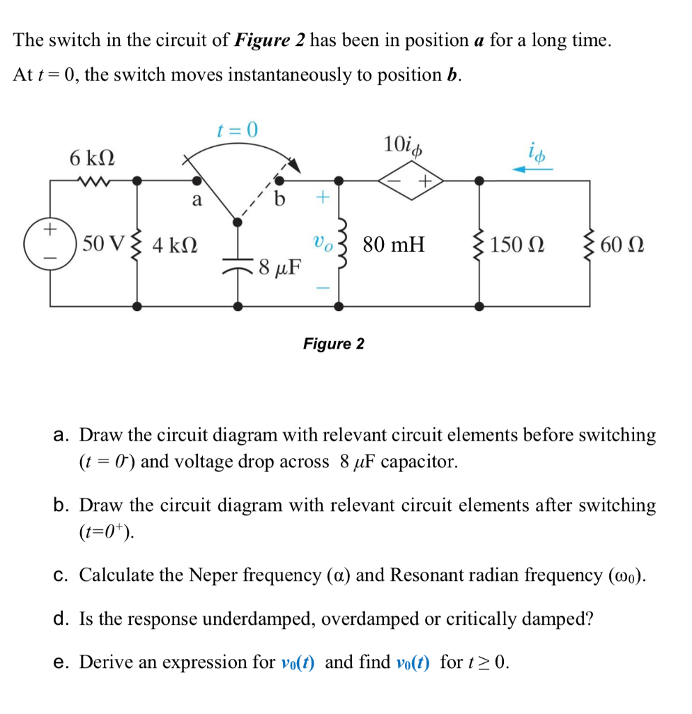 hight resolution of the switch in the circuit of figure 2 has been in position a for a long