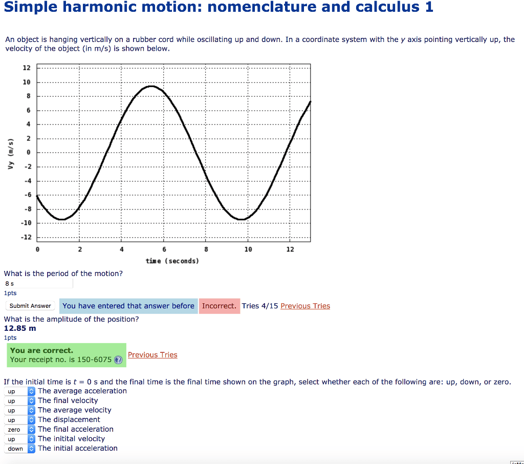 Solved Simple Harmonic Motion Nomenclature And Calculus