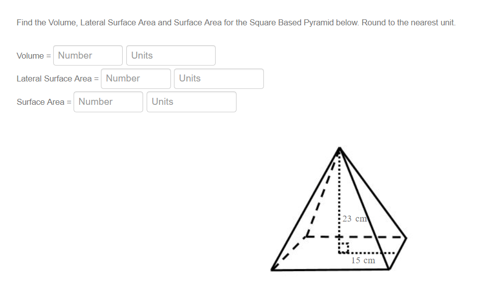 Solved: Find The Volume, Lateral Surface Area And Surface