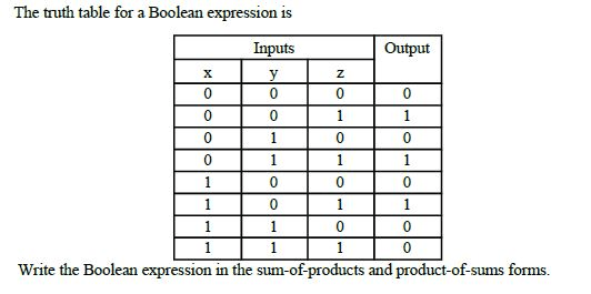 Solved: The Truth Table For A Boolean Expression Is Write