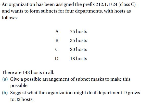 An organization has been assigned the prefix 212.1.1/24 (class C) and wants to form subnets for four departments, with hosts as follows: A 75 hosts B 35 hosts C 20 hosts D 18 hosts There are 148 hosts in all (a) Give a possible arrangement of subnet masks to make this possible. (b) Suggest what the organization might do if department D grows to 32 hosts.