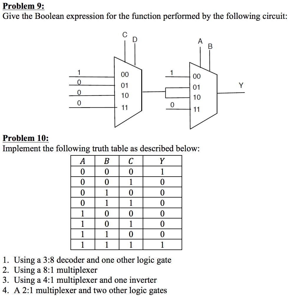 hight resolution of problem 9 give the boolean expression for the function performed by the following circuit