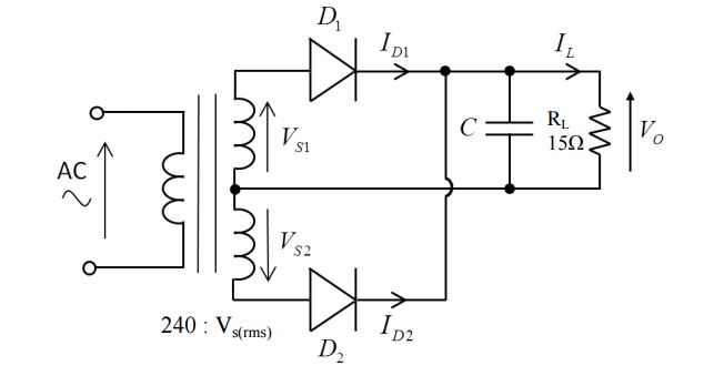 Solved: The Full Wave Bridge Rectifier Circuit Below Is Us