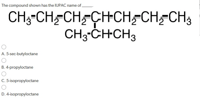 Solved: The Compound Shown Has The IUPAC Name Of _____. A