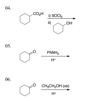 Solved: 04. CO2H SOCl2 I) 05 PhNH2 06 O CH3CH2OH (xs) H+ | Chegg.com