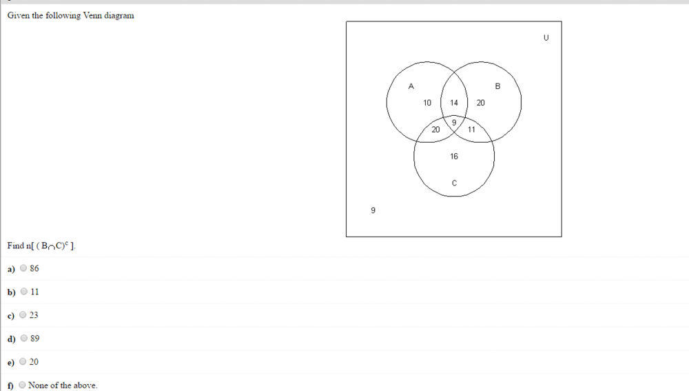 medium resolution of solved given the following venn diagram find n a union b chegg com