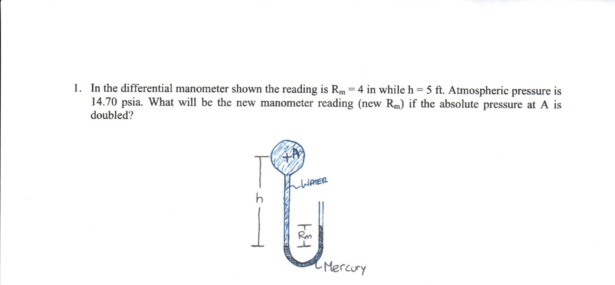 hight resolution of in the differential manometer shown the reading is