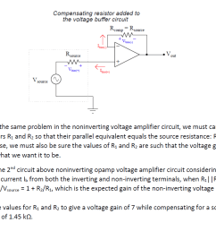 the same problem of input bias current affecting the precision of opamp voltage buffer circuit also affects noninverting opamp voltage amplifier circuit  [ 1223 x 822 Pixel ]