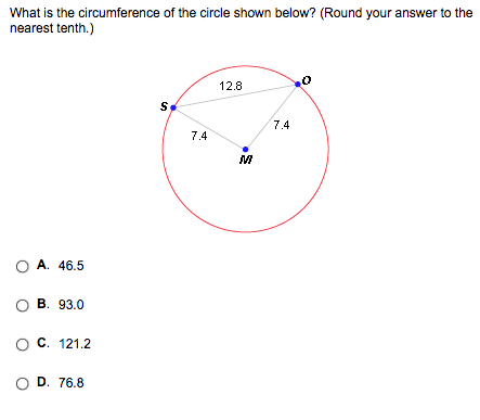 Solved: What Is The Circumference Of The Circle Shown Belo