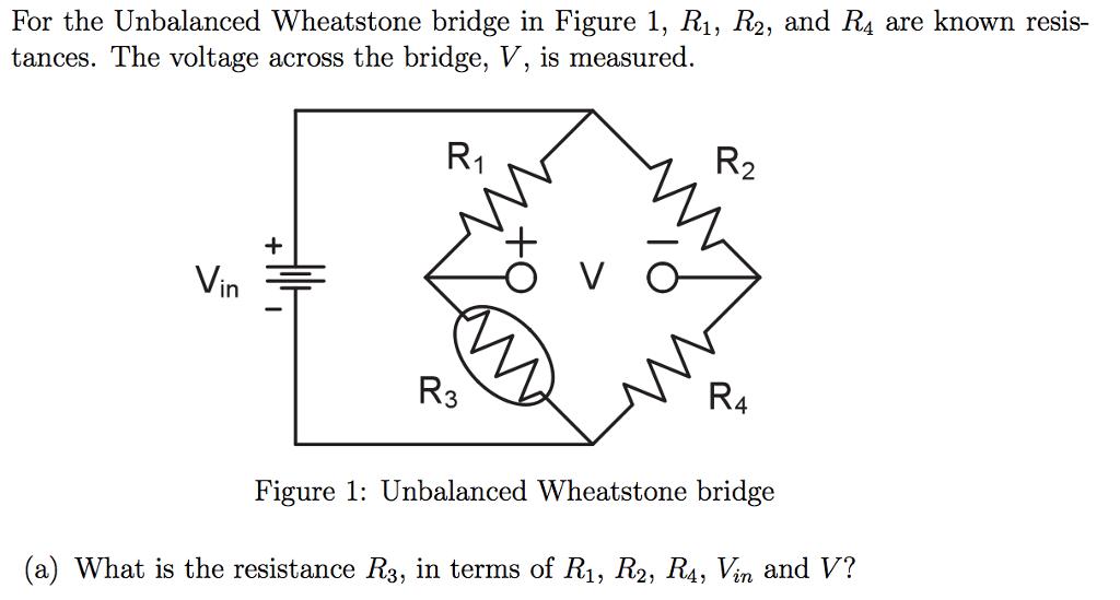 Solved: For The Unbalanced Wheatstone Bridge In Figure 1