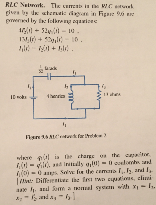 small resolution of rlc network the currents in the rlc network given by the schematic diagram in figure
