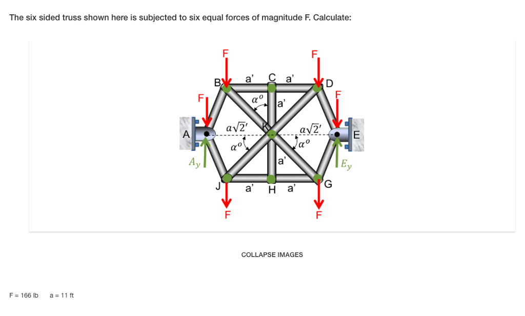 Solved: The Six Sided Truss Shown Here Is Subjected To Six