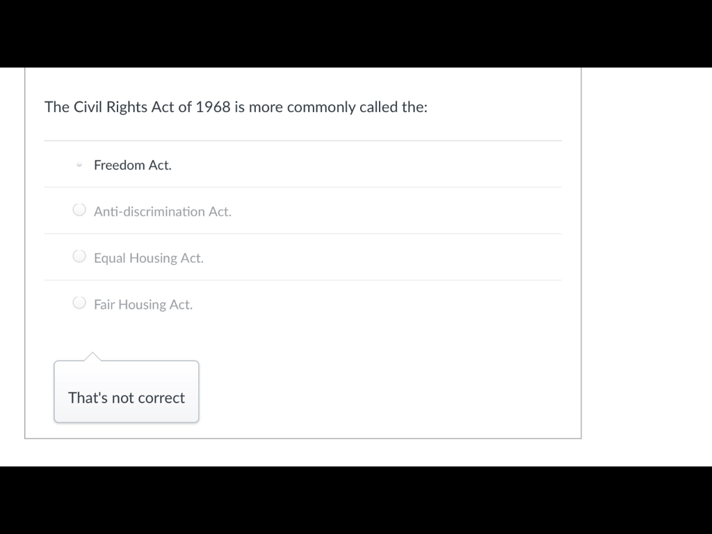 Solved: The Civil Rights Act Of 1968 Is More Commonly Call