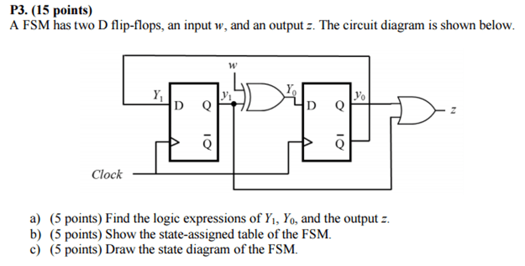 hight resolution of a fsm has two d flip flops an input w and an out