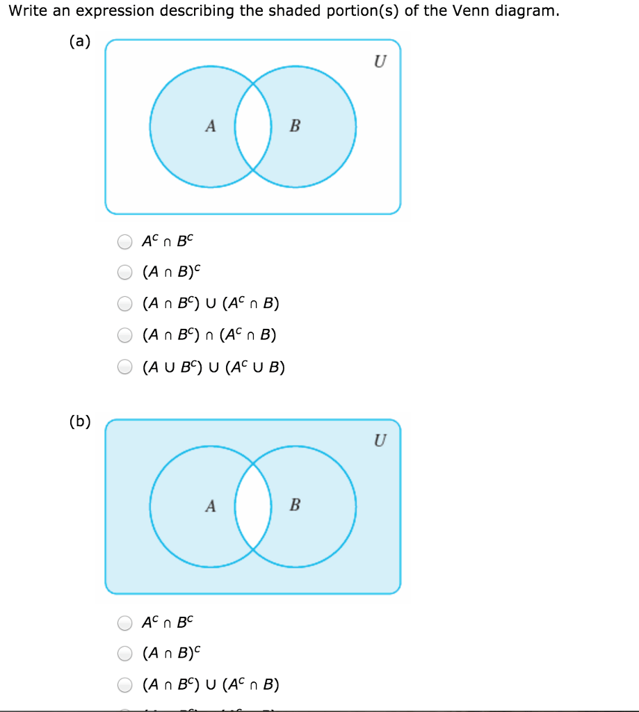 medium resolution of write an expression describing the shaded portion s of the venn diagram